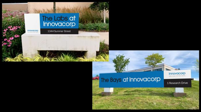 Two outdoor signs. One that reads, 'The Labs at Innovacorp' and another that reads, 'The Bays at Innovacorp'.