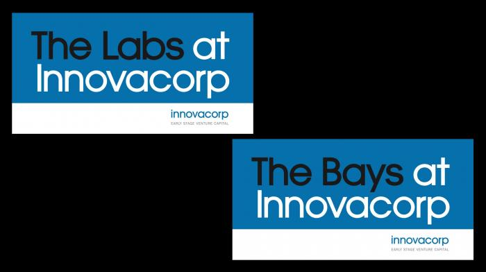 A sign that reads, 'The Labs at Innovacorp' and a sign that reads, 'The Bays at Innovacorp'.