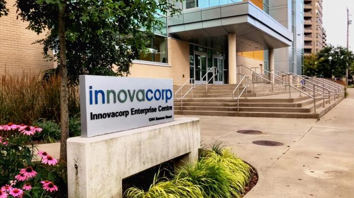 An outdoor sign that reads, 'Innovacorp Enterprise Centre'.