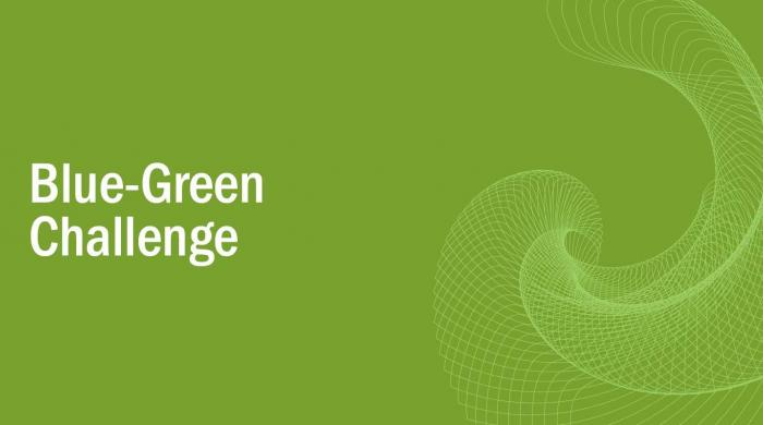 A green graphic that reads, 'Blue Green Challenge'.